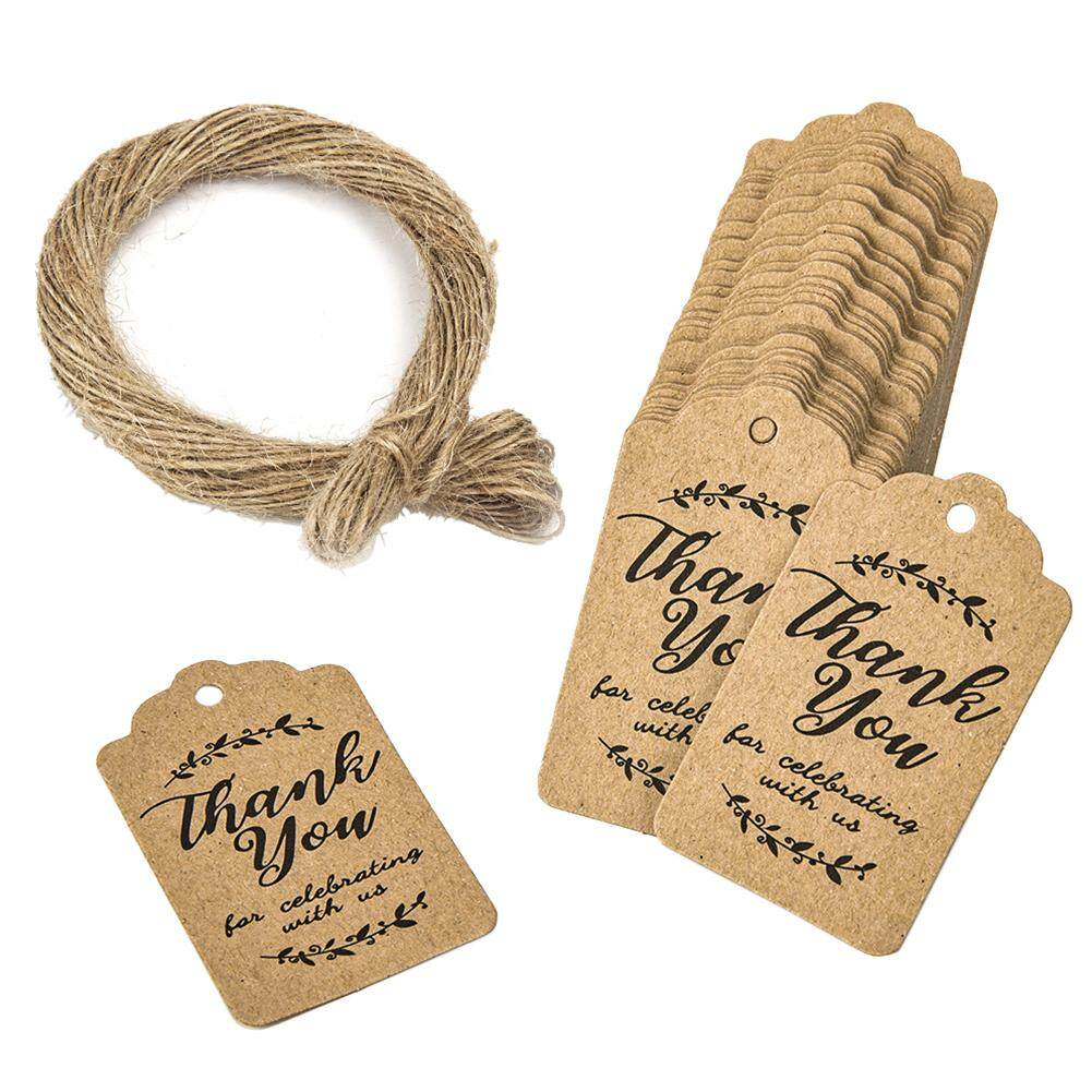 100pcs/bag Wedding Decorative Party Favor With Rope Hang Supplies  Mutifunction Gift Wrapping Handmade Paper Tags For Baking Thank You Sign  DIY Craft