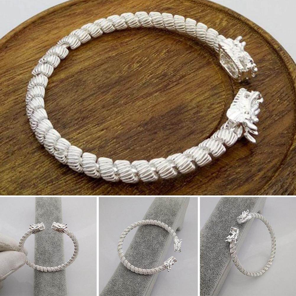 Silver Vintage Chinese Dragon Open Size Bracelet Bangle Jewelry For Men  Women