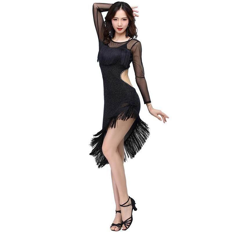 Women Latin Dance Dress Salsa Tango Ballroom Sequin Tassel Rumba Diamond Classic
