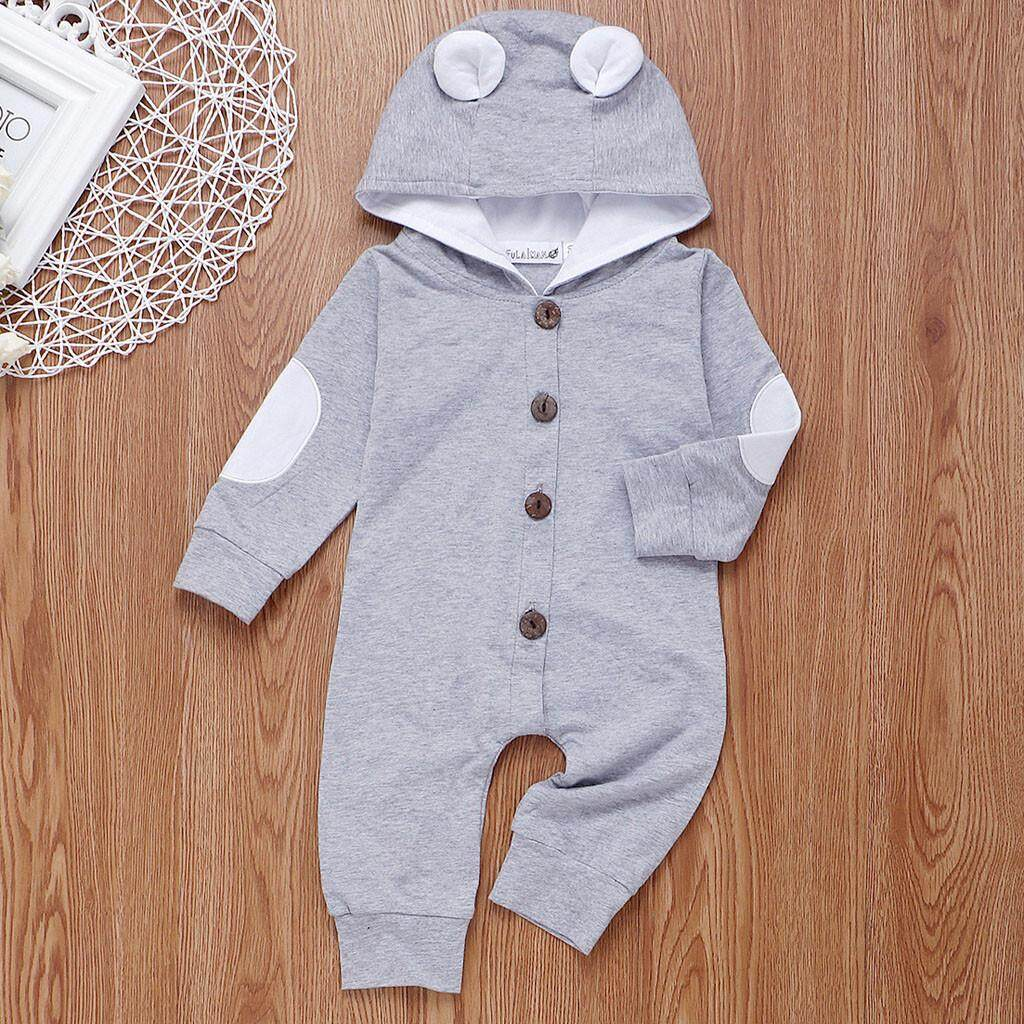 Infant Baby Girls/&Boys Long Sleeve Solid Hooded Jumpsuit Romper Outfits Clothes Long Sleeve Onesies