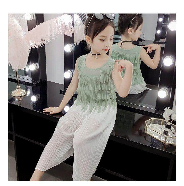 3612e4eba8cba Tassels Tops Clothing Set For Toddler Girls Kids Clothes Sets Summer Baby  Girl Outfits 2019 Pants 2 Pcs Suits Teenage Children