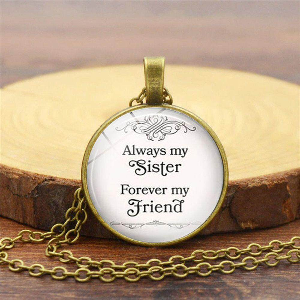 Always My Sister Forever My Friend Time Gem Glass Pendant Necklace Steampunk