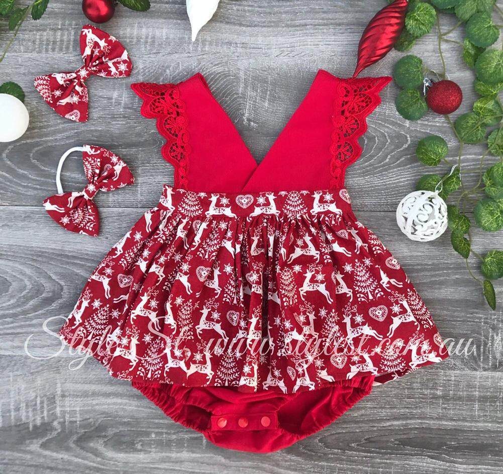 Christmas Sister Matching Clothes Xmas Santa Romper Bodysuit Party Pageant Dress