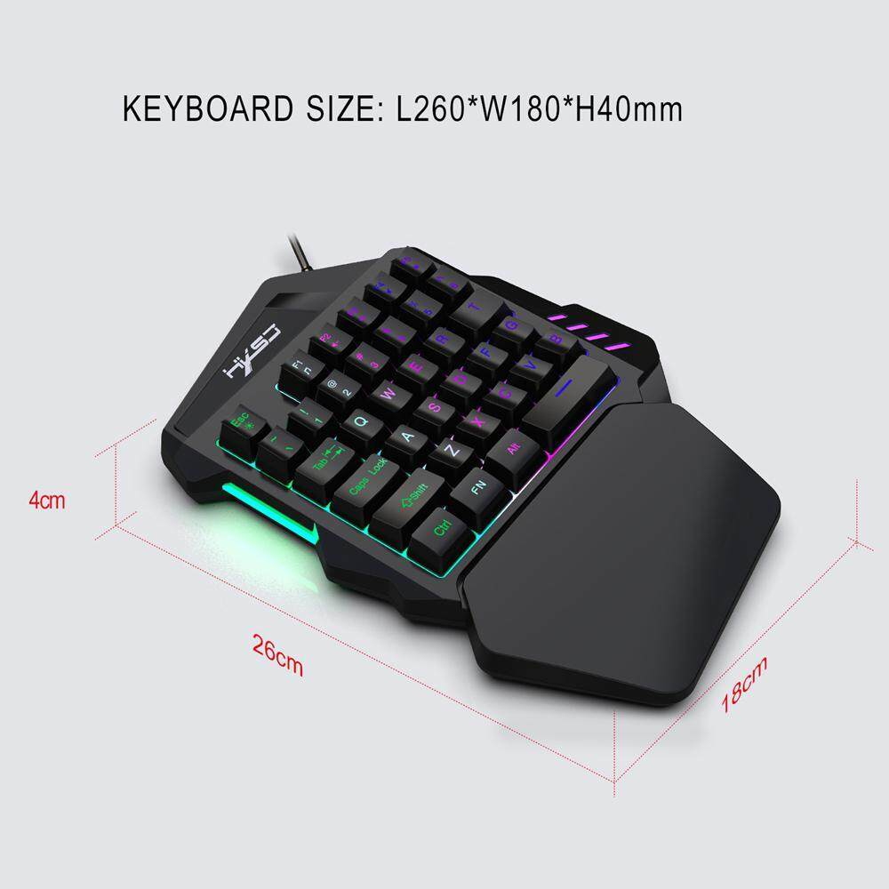 Mini One Hand Gaming Keyboard Single Hand Game Keypad Mouse Backlit For Laptop