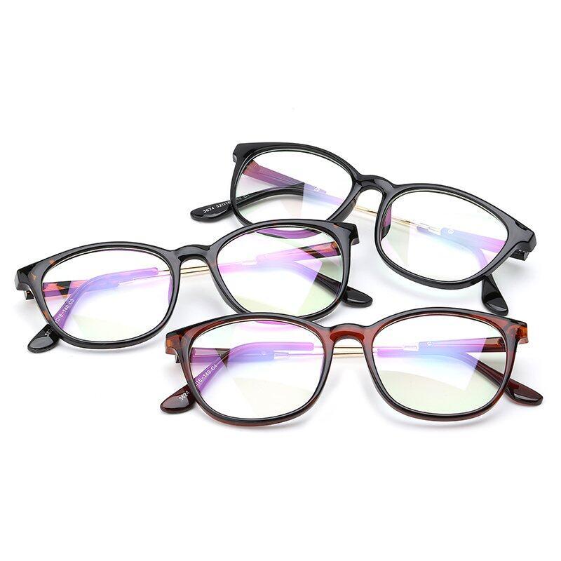 Fashion Oval Kacamata BrightBlack Bingkai Kacamata Polos untuk Miopia Wanita Kacamata Optik Kacamata .