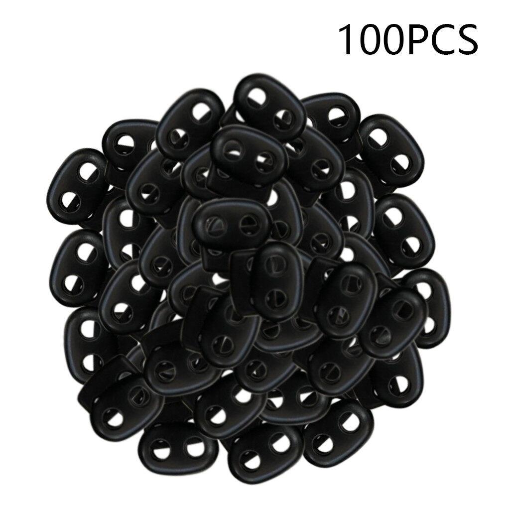 Plastic Cord Lock End Toggle Double Hole Spring Stopper Fastener Slider Toggles End Black,100 PCS
