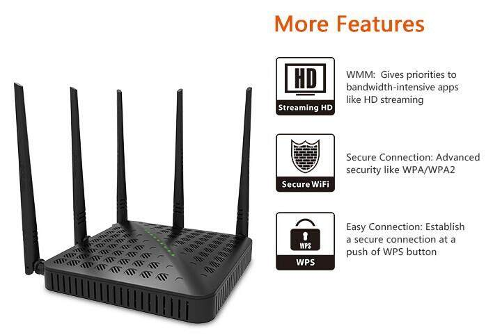 Tenda FH1202 AC Dual-band 1200Mbps Wireless WiFi Router Wi-Fi Repeater  5x5dBi Antennas 2 4G & 5G Wi Fi Router English Firmware