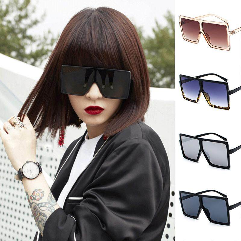 2018 Fashion Women/'s Flat Top Large Oversize Square Frame Sunglasses Celebrity