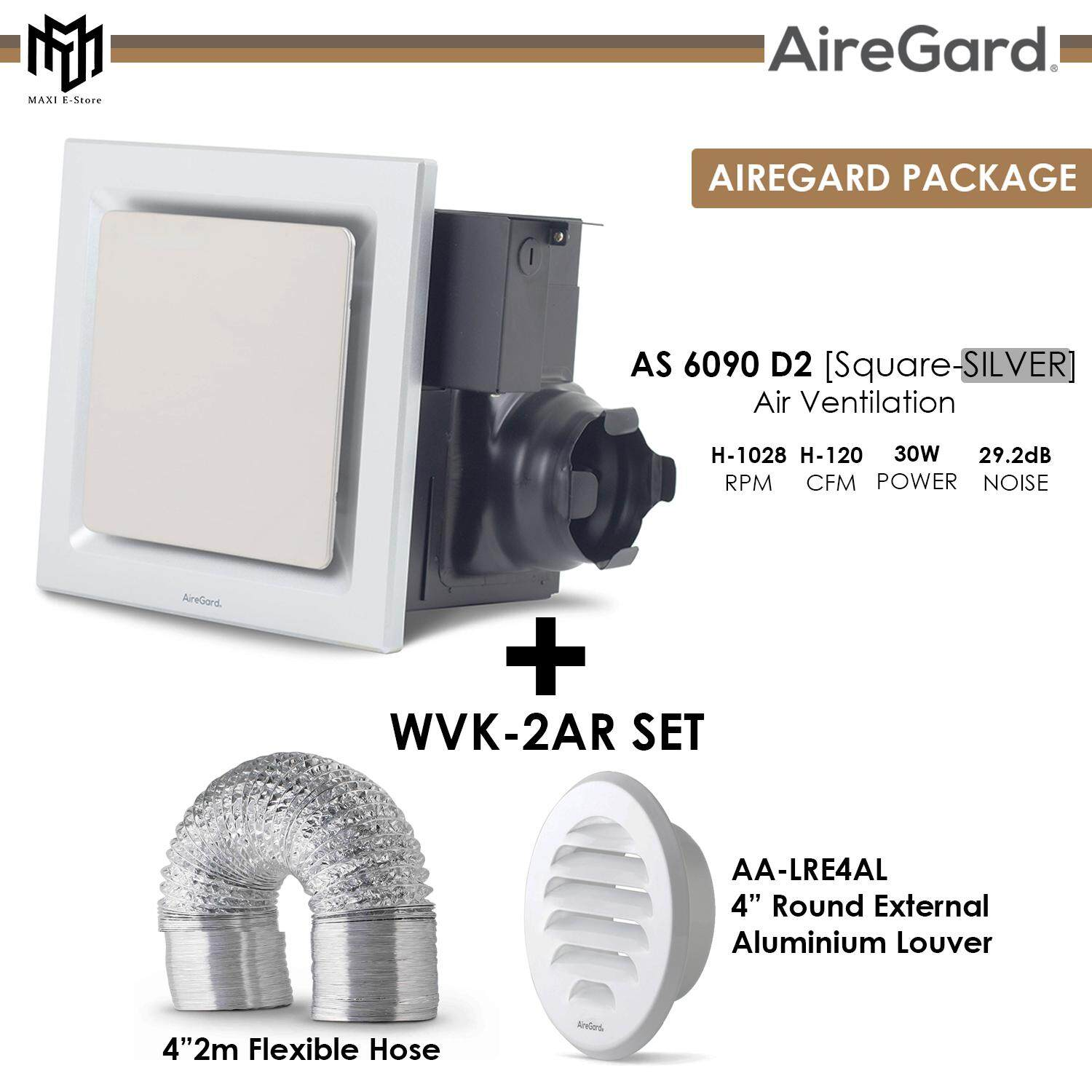 Combo Set Airegard As 9020 D2 Air Ventilation Exhaust Fan Round Square As9020d2 Wvk 2br Wall Vent Ducting Kit 4 0 Meter Lazada