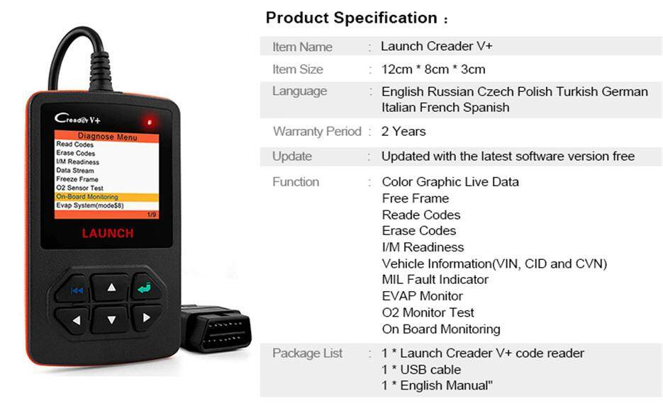 Launch V+ Obd2 Code Reader for Check Engine Fault Code OBD Automotive  Scanner Read Clear DTC Display Data stream Auto Scan Tool EOBD/ODB 2 Car