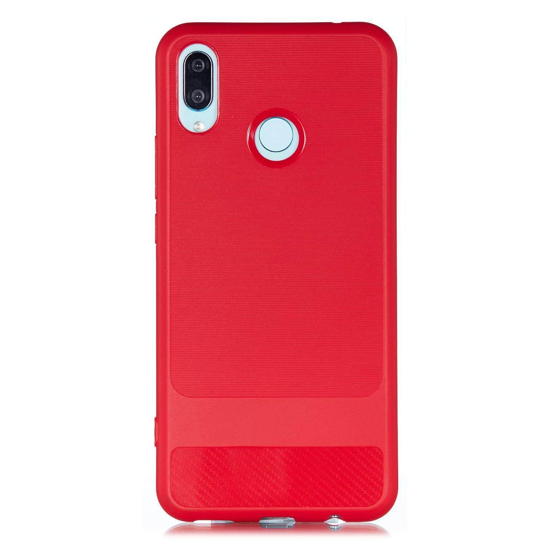 for HUAWEI NOVA 3I Carbon Fiber Pattern TPU Non-slip Shockproof Full  Protective Back Cover Case Style:HUAWEI NOVA 3I