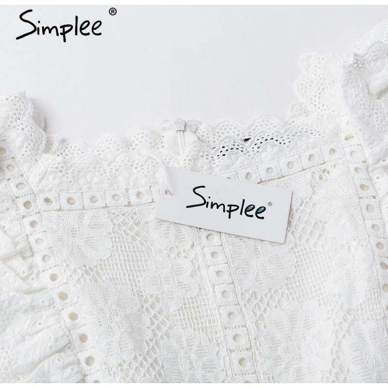 912de8388c Specifications of Simplee Elegant embroidery lace women dress Hollow out  sashes ruffle white summer dress Slim sexy party lady dress vestidos 2019