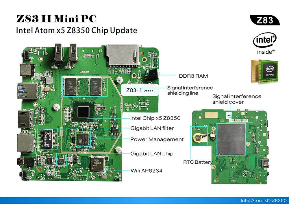 Intel Atom Z8350 licensed windows10 mini pc with 4GB/64GB, 1000Mbps Gigabit  LAN, and HDMI output Philippines