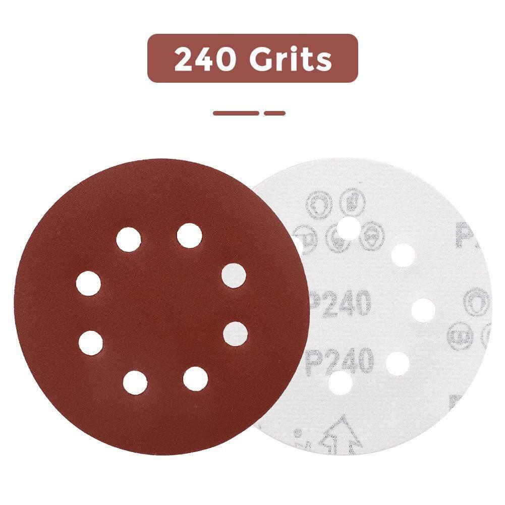 30 Pcs 5 In 8 Holes Sanding Discs Sandpaper Grits Hook /& Loop for Orbital Sander