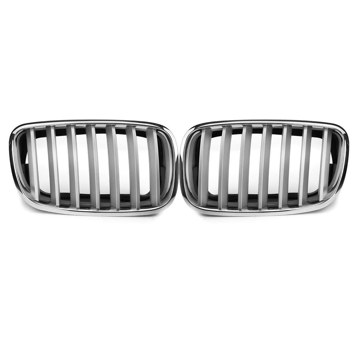 PAIR For BMW E70 E71 X5 X6 2007-2013 SILVER FRONT BUMPER KIDNEY GRILLE GRILLES
