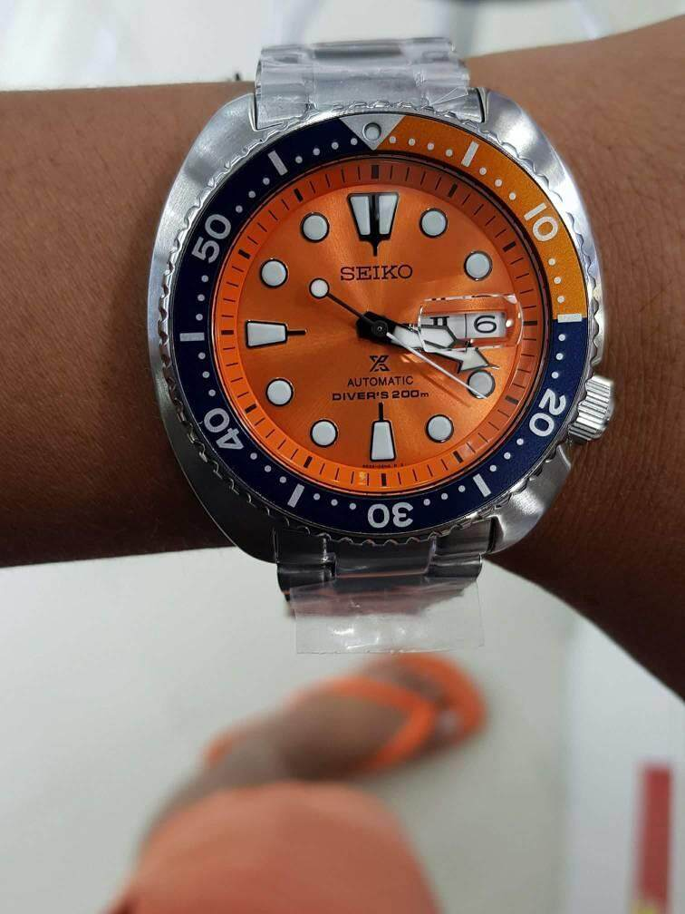 best sneakers 38335 b06a0 Seiko Prospex Turtle LIMITED EDITION Nemo SRPC95K1 Orange Dial Automatic  Diver's 200M Gents Watch (Free Blue Silicone Strap)