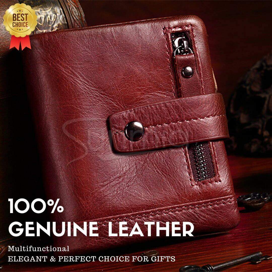 Wallet Genuine Real Leather RFID Protected Wallet Mens Coins purse gift for men