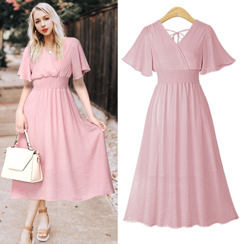 Loleemon Loose Short Sleeve Summer Party Wedding Dresses M 4xl Plus Size Dress V Neck Solid Pink Dress P Lazada Ph,Pencil Wedding Dresses Uk