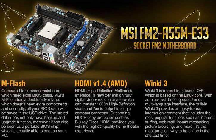 MSI FM2-A55M-E33 Micro ATX Socket FM2 Motherboard (Refurbished)