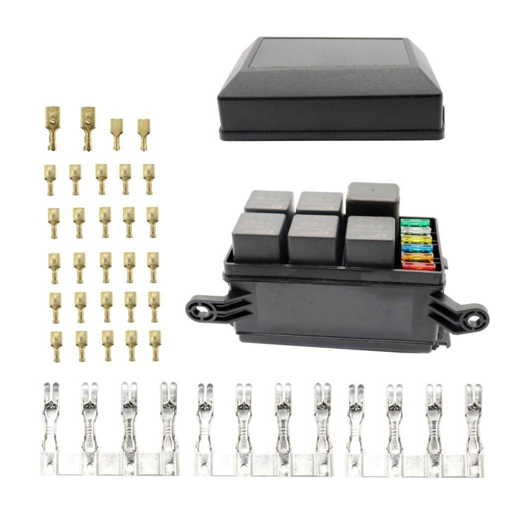 dovewill 6 way blade fuse holder with fuses standard relay box & terminals circuit board fuse holder relay holder fuse box terminals #8