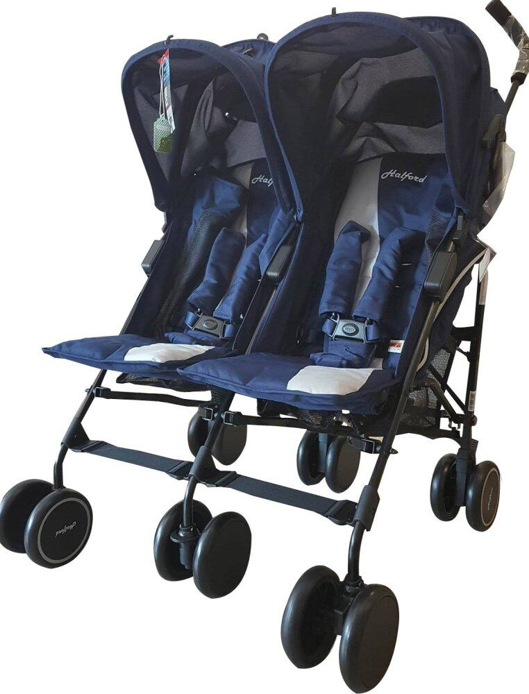 Halford Fliplite Twin Stroller - blue