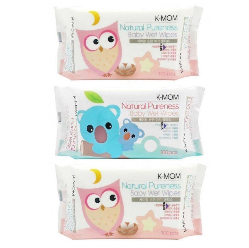 K-MOM Natural Pureness Baby Wet Wipes - 100pcs x3