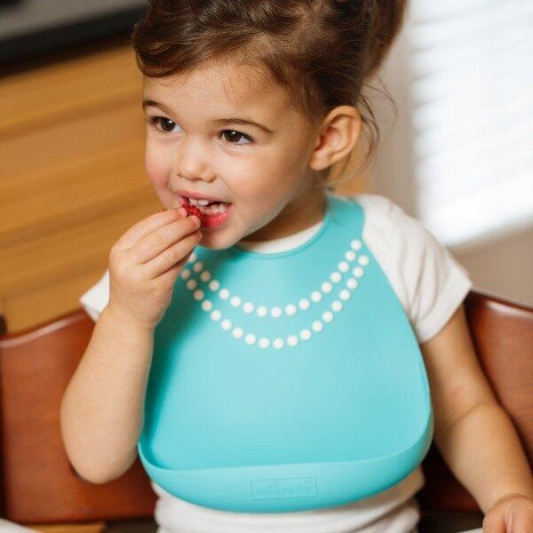 Make My Day Baby Bib Tiffany Blue w/Pearls