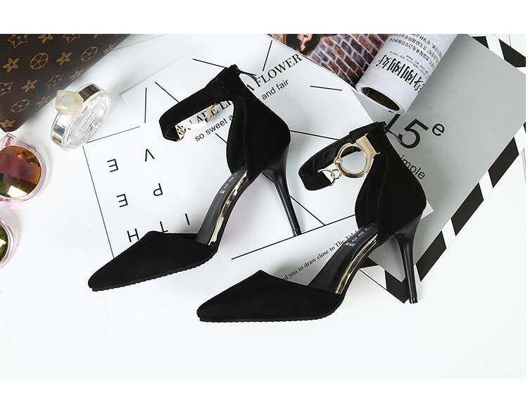 9b1f1e56674 Korean Women Suede Bow, High Heels, Pointed Thin Shallow, Sexy Hollow Word  Buckle Sandals, Single Shoes Heel height:7cm(2.8inches)