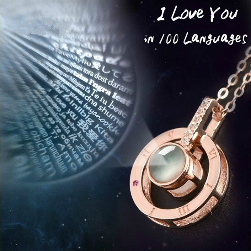 Rose Gold 100 Languages Light I Love You Projection Pendant Necklace Heart Gifts
