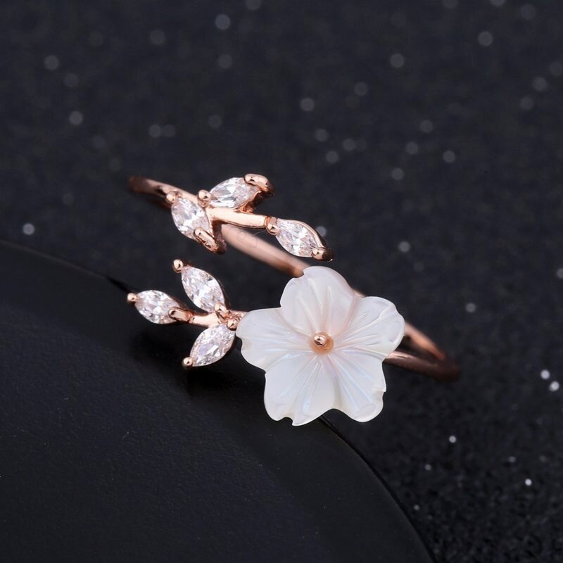 New Women Fashion Rose Gold-Plated Zircon Branches Flowers Open Ring Jewelry