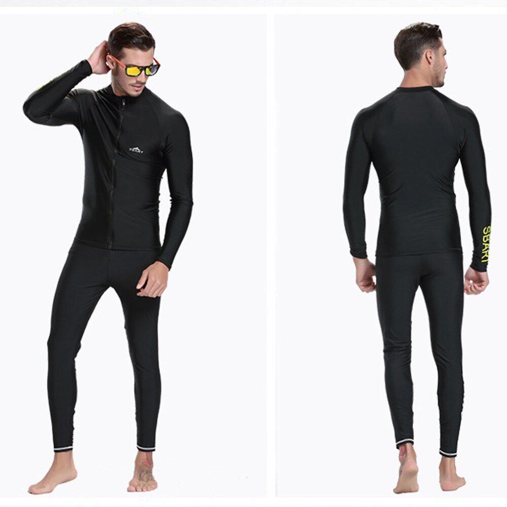 Pakaian Renang Pria Yang Menutup Seluruh Badan Yang Can Be Used Menyelam Snorkeling Surfing (hitam) - 3