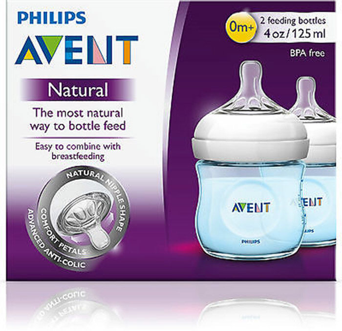 Philips Avent Natural Blue Bottle 4oz / 125ml Twin Pack