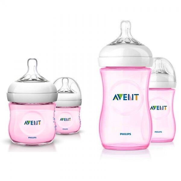 Philips Avent Natural Bottle 125ml / 4oz - Pink (Twin Pack)