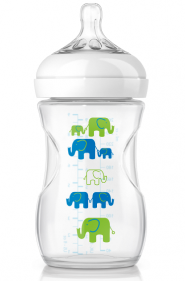Philips Avent Natural Bottle 9oz Deco Elephant Boy