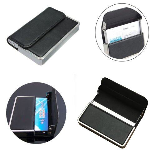 Pro Stainless steel PU Leather Business Name ID Credit Card Holder Case Pocket - Intl - 4