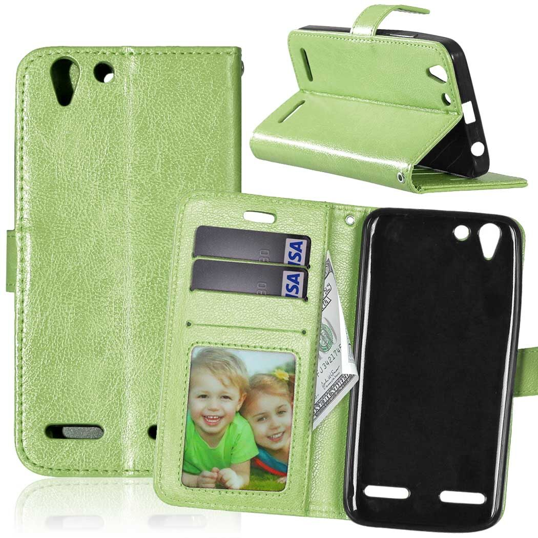 PU  Leather Flip Stand Wallet Case For Lenovo Vibe K5 A6020 / K5 Plus / Lemon 3 (Green)
