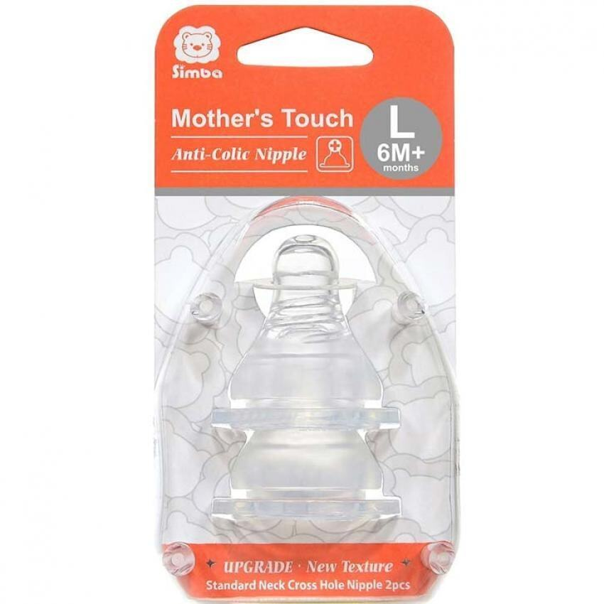 Simba Mother´s Touch Wide Neck Cross Hole Anti-Colic Nipple - 2pcs(L size)