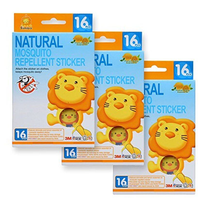 Simba Natural Mosquito Repellent Sticker (16pcs) with Citronellaand Lemon Extract/ No DEET, Extra Safe! (3 PCs)