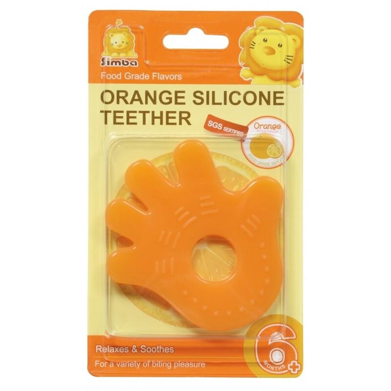 Simba Orange Silicone Teether (Hand)