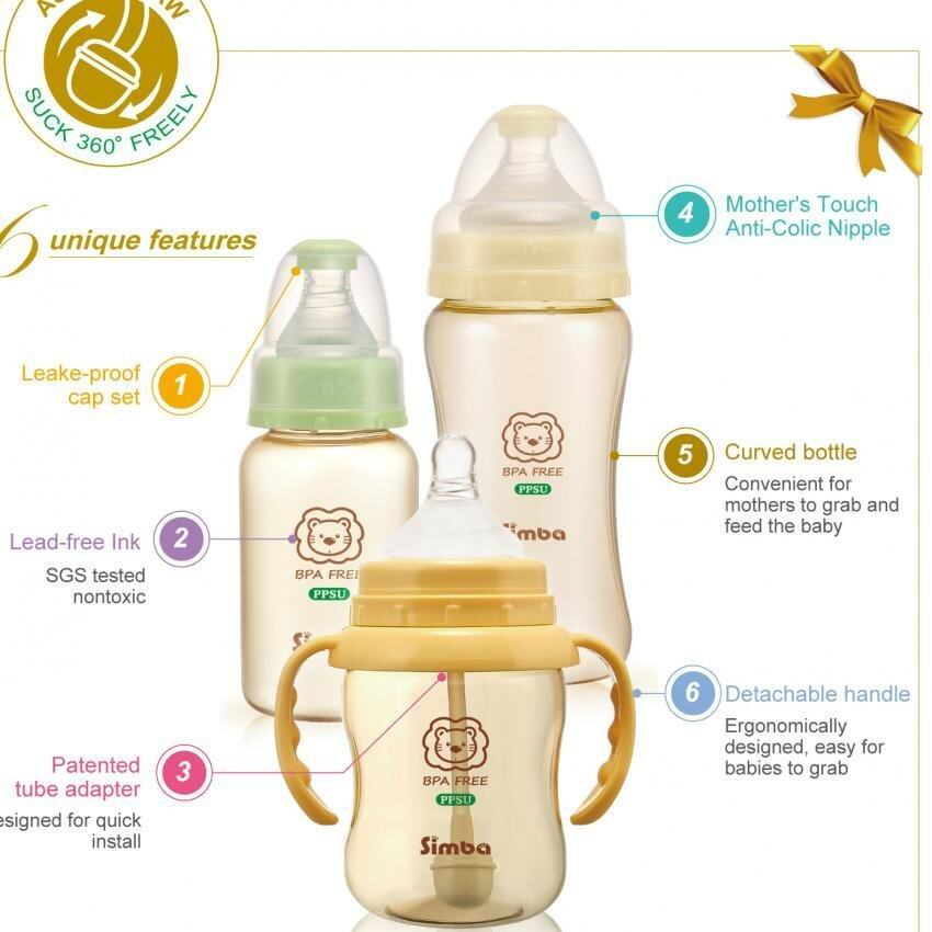 Simba PPSU Wide neck calabash feeding bottle 270ml (Green)