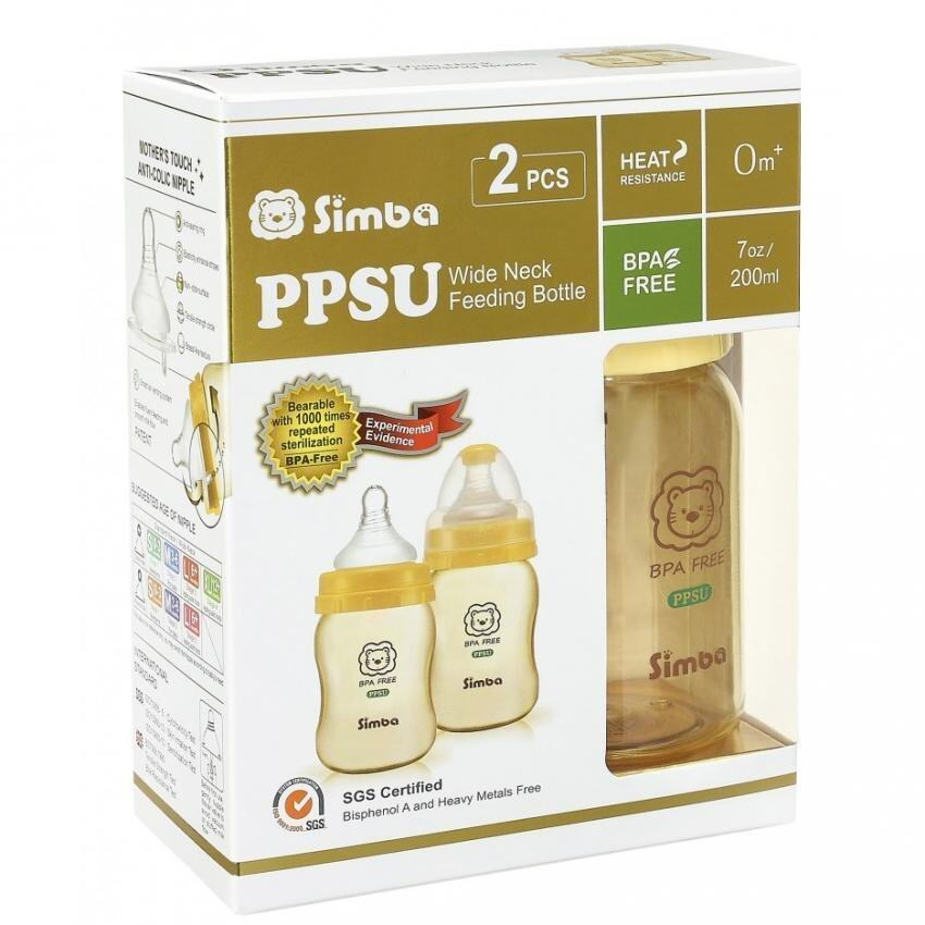 Simba PPSU Wide Neck Feeding Bottle 2pcs 200ml(Yellow)