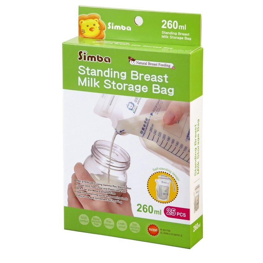 Simba Self-standing Breast Milk Storage Bag - 260ml