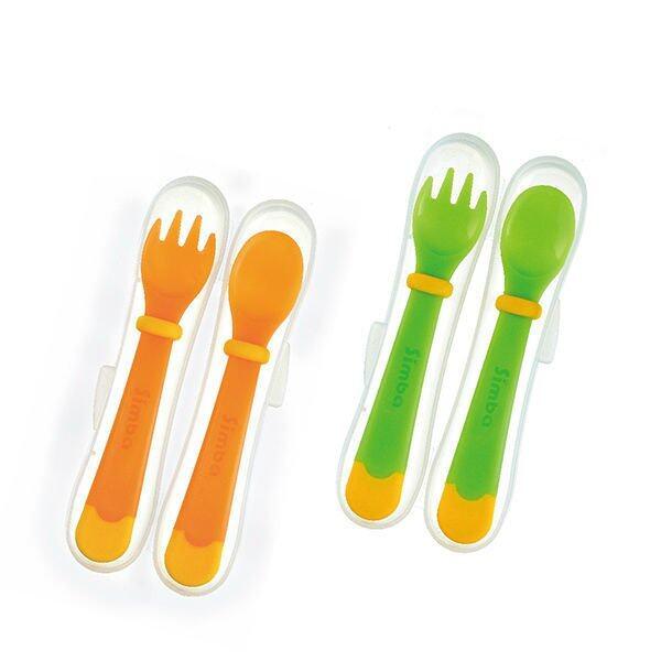Simba Thermochromic Spoon & Fork Set - Green