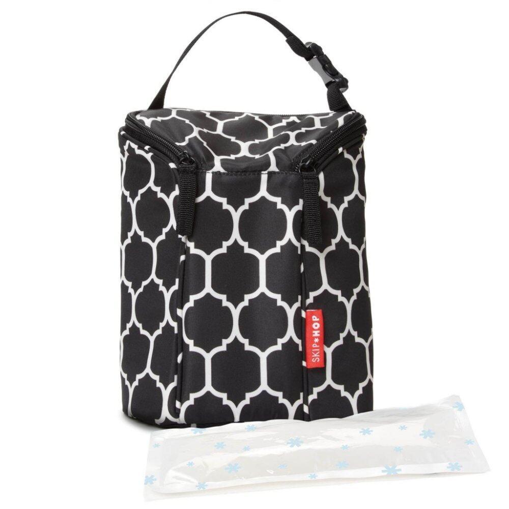 SKIP HOP Grab and Go Double Bottle Bag- Onxy Tile