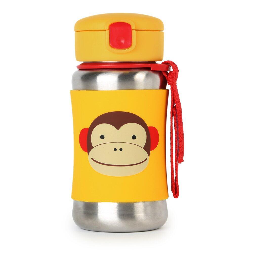 Skip Hop Zoo Stainless Steel Straw Bottle - Monkey