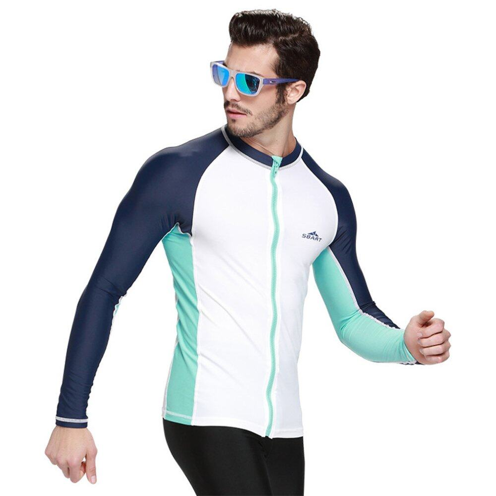 Spring Autumn Men Rash Guard Top Shirts Swim Long Sleeve Snorkeling Diving Wetsuit Swimwear – White