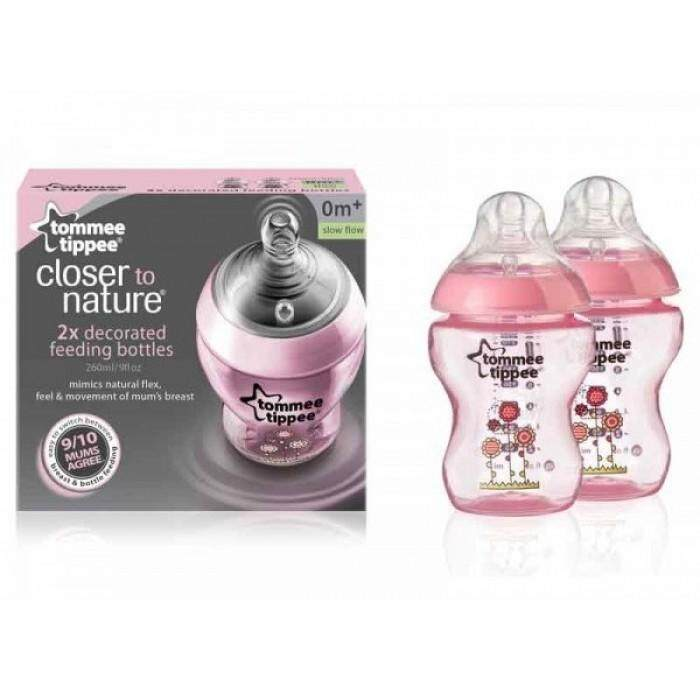 Tommee Tippee Closer To Nature Bottle 260ml/9oz Twin Pack Tinted (pink)
