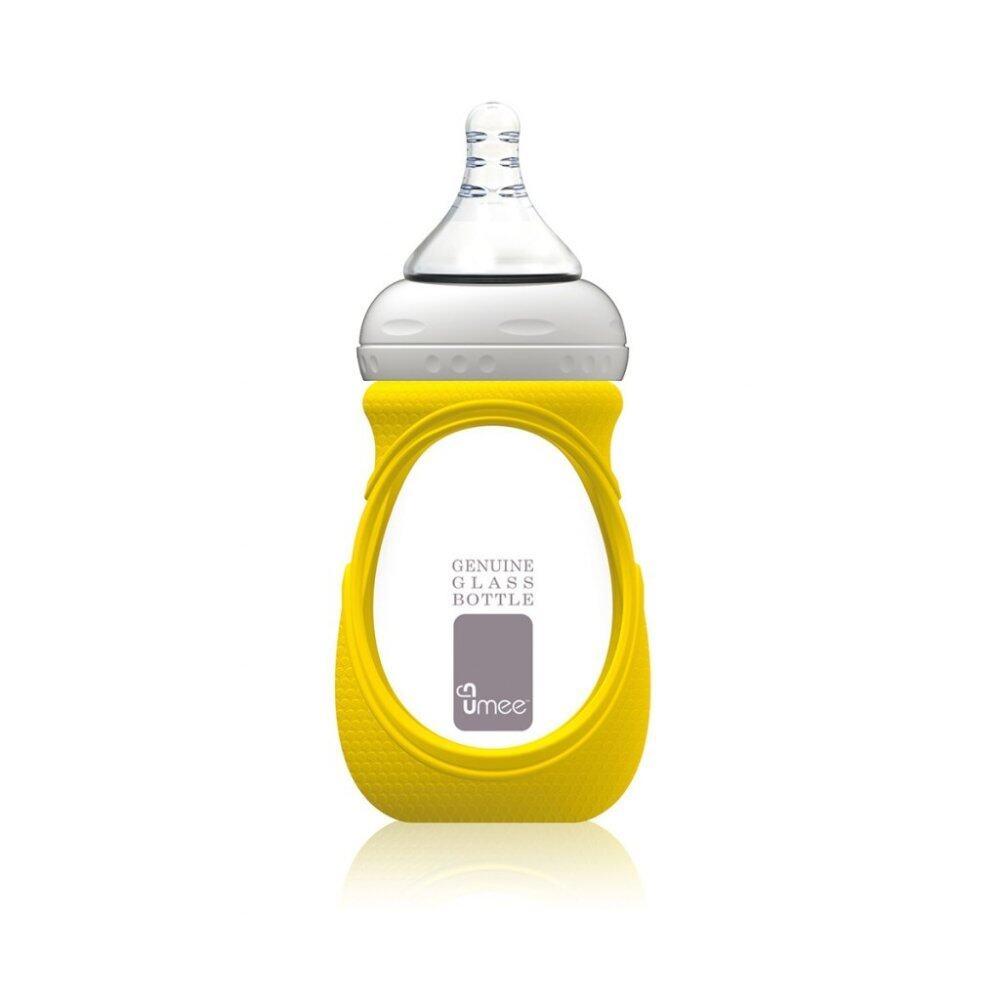 Umee Glass Bottle with Sleeve 240ml - yellow