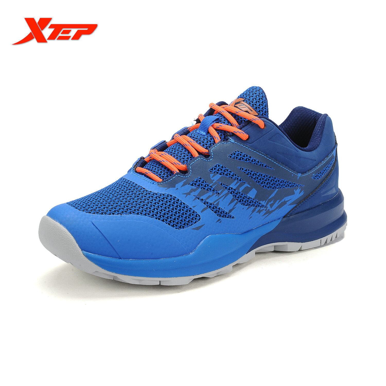 Xtep 2016 Sepatu Lari Untuk Pria Udara Mesh Pria Sepatu Bernapas Sepatu Olahraga Sepatu Olahraga Atletik Pria Sepatu Kets Karet Biru Oranye Intl Diskon Tiongkok
