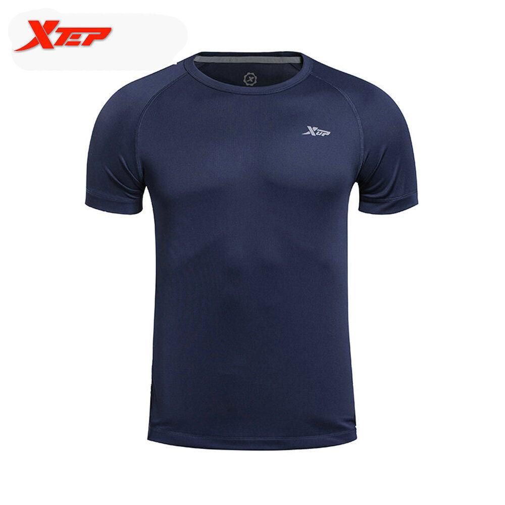 Jual Xtep Merek 2016 Musim Panas Gaya Pria Outdoors Menjalankan T Shirt Tops Polyster Pria Fit Olahraga Kemeja Cepat Kering Pria Shirt Biru Intl Branded Murah